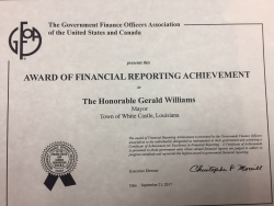 Government Finance Officers Association Awards Mayor Gerald Williams and The Town of White Castle Certificate for Excellence in Financial Reporting