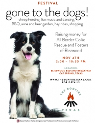 "First Annual The Bonfire Texas November 4th in Cat Spring, Texas - Festival ""Gone to the Dogs"" Supports Animal Rescues"