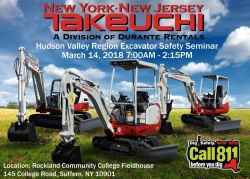 Durante Rentals and NY-NJ Takeuchi to Sponsor the 2018 Rockland County Excavator Safety Seminar Series