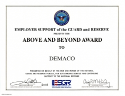 DEMACO Recognized for Support of Military Servicemembers