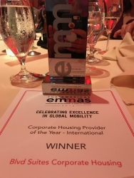 """Blvd Suites Corporate Housing Named """"Corporate Housing Provider of the Year – International"""" by the Forum for Expatriate Management"""