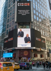 Dr. Bernard L. Upshur Recognized on the Reuters Billboard in Times Square, New York City by Strathmore's Who's Who Worldwide Publication