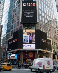 Lou Jordan, LWS Honored on the Reuters Billboard in Times Square in New York City by P.O.W.E.R. (Professional Organization of Women of Excellence Recognized)
