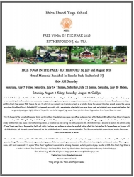 Free Yoga in the Park Sponsored by Shiva Shanti Yoga School in Rutherford, NJ at Hutzel Memorial Bandshell 8:00 to 9:00 AM on Saturdays 2018