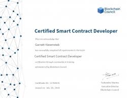 Garratt Hasenstab Receives Certified Smart Contract Developer™ Credential
