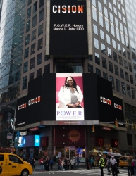 Marcia L. Jeter, CEO Honored on the Reuters Billboard in Times Square in New York City by P.O.W.E.R. (Professional Organization of Women of Excellence Recognized)