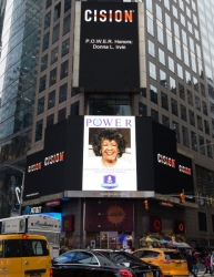 Dr. Donna L. Irvin Showcased on the Reuters Billboard in Times Square in New York City by P.O.W.E.R. (Professional Organization of Women of Excellence Recognized)