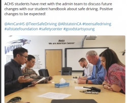 Safety Center's Youth-led Teen Safe Driving Campaign, Youth Take Action to End Distractions, Receives Funding from The Allstate Foundation Good Starts Young Program