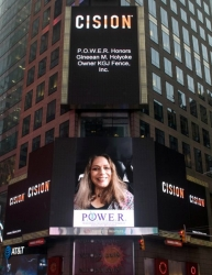 Gineean M. Holyoke Honored on the Reuters Billboard in Times Square in New York City by P.O.W.E.R. (Professional Organization of Women of Excellence Recognized)