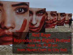 Protesters March in Red for the Red Rage Reproductive Rights Protest