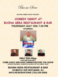 Wilshire Comedy Group Brings an All-Star Comedy Show to Buona Sera Restaurant in Red Bank, NJ on Thursday July 18th