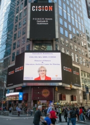 Gertrude B. Hutchinson, DNS, RN, MA, MSIS, CCRN-R Showcased on the Reuters Billboard by P.O.W.E.R. (Professional Organization of Women of Excellence Recognized)