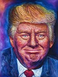 Artist Michelle Larsen Creates Large 3D Painting of Donald Trump