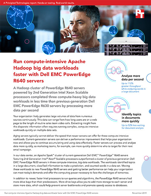Principled Technologies Finds That Current-Generation Dell EMC PowerEdge R640 Servers Offer a Significant Boost for Compute-Heavy, Apache Hadoop Big Data Workloads