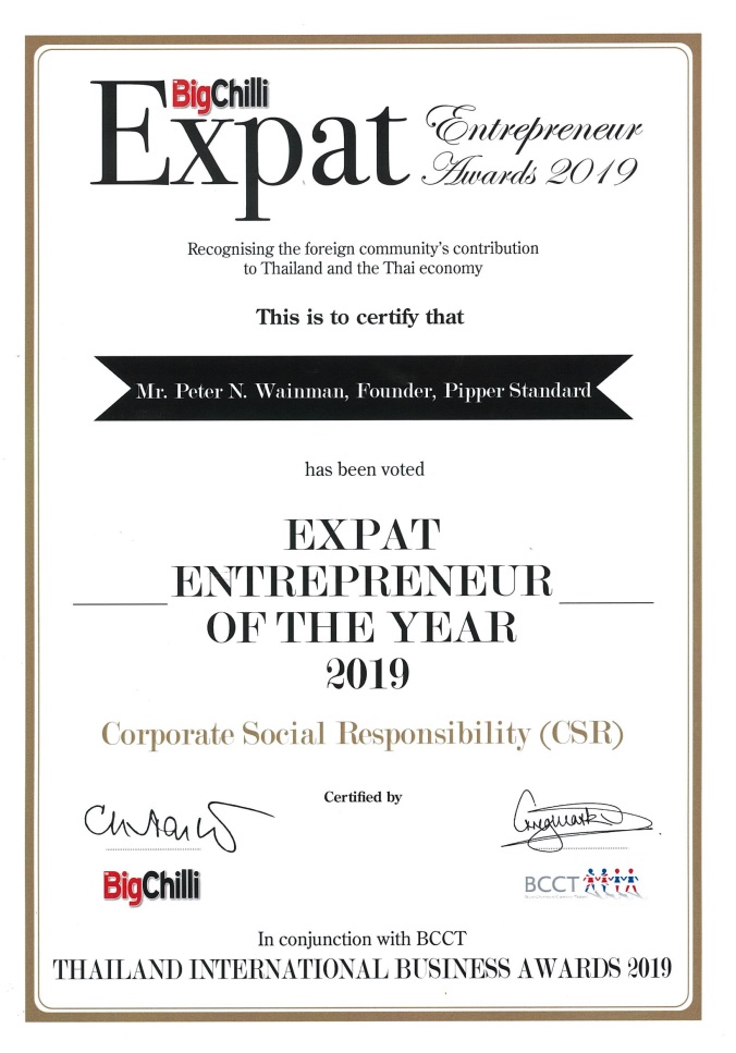 "Equator Pure Nature CEO Peter Wainman Named ""Expat Entrepreneur of the Year for Corporate Social Responsibility"" in Thailand in 2019"