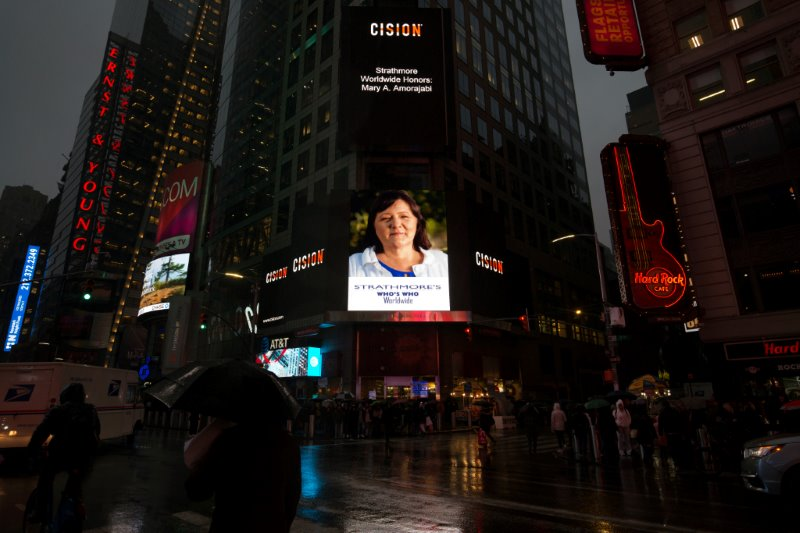 Mary A. Amorajabi, R.N. Honored on the Reuters Billboard in Times Square by Strathmore's Who's Who Worldwide Publication