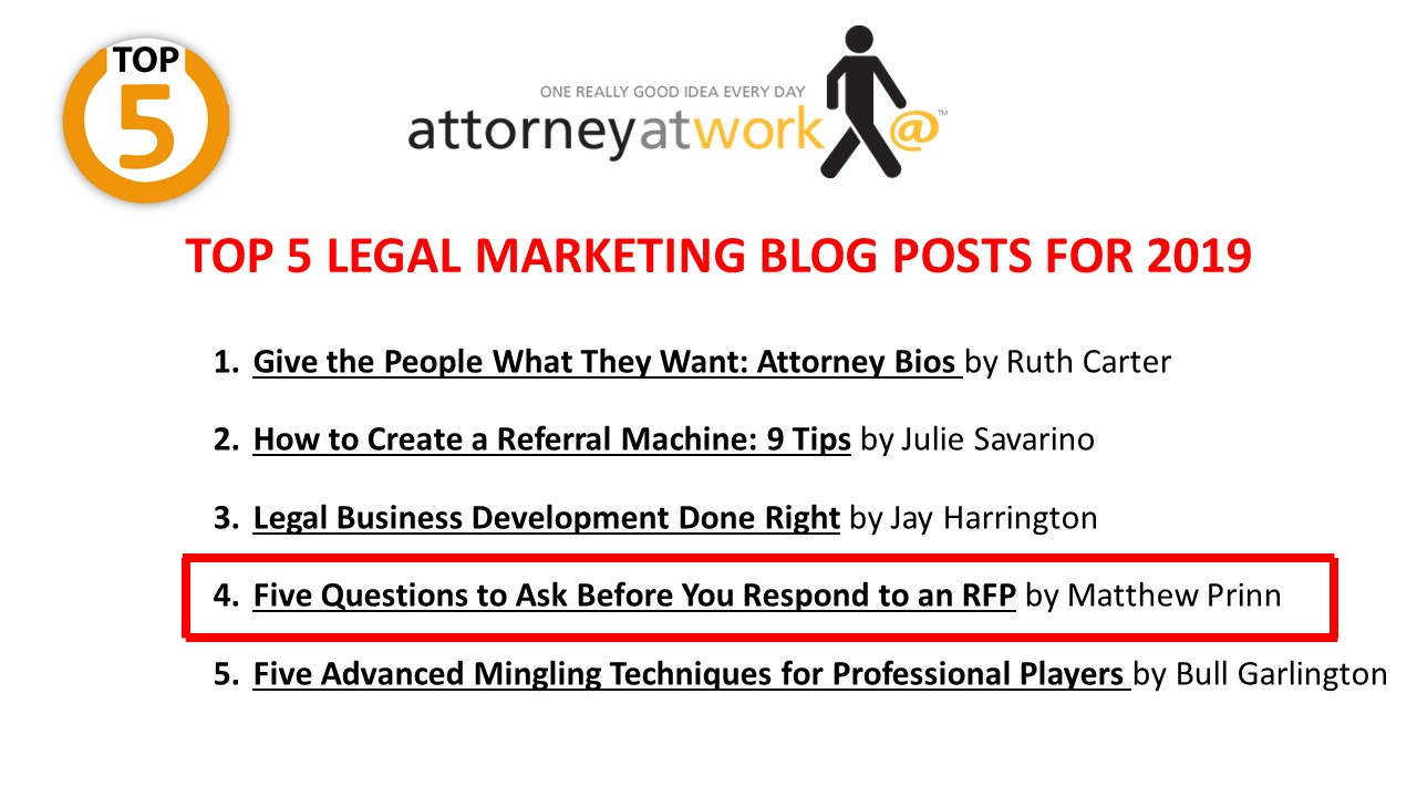 Matthew Prinn of RFP Advisory Group Authors 4th Most Popular Legal Marketing Blog Post of 2019 for Attorney at Work