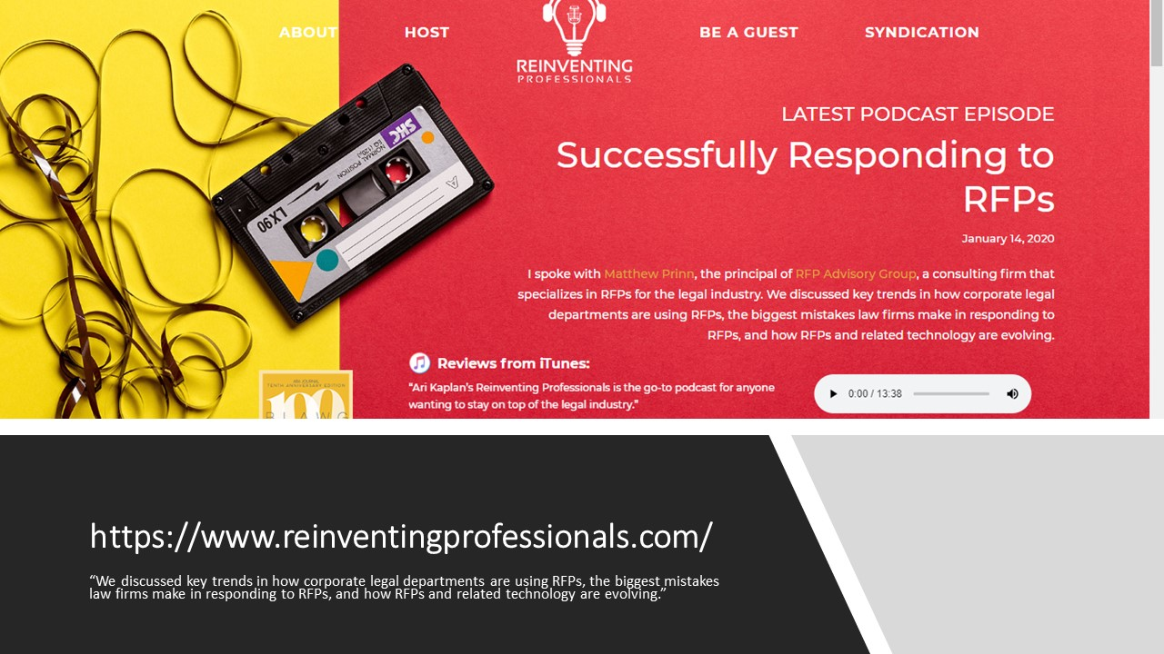 Matthew Prinn of RFP Advisory Group a Guest on Reinventing Professionals Podcast
