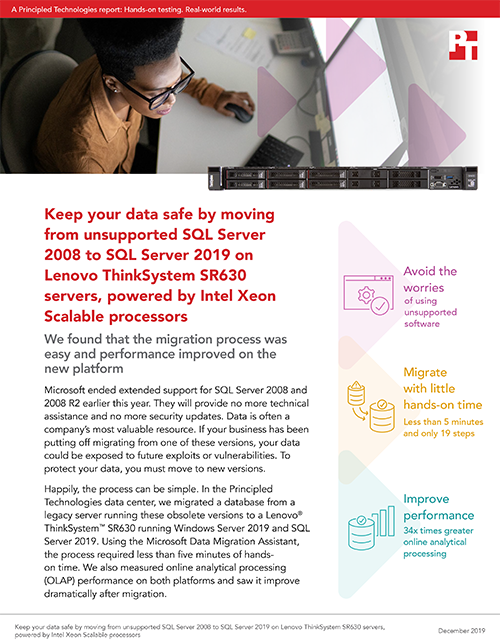 Principled Technologies Finds Migrating from SQL Server 2008 to SQL Server 2019 on a Lenovo ThinkSystem SR630 is an Easy Way to Avoid the Risks of Unsupported Software