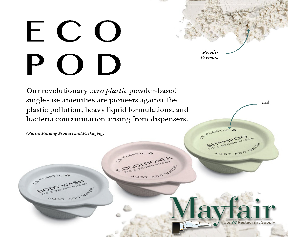 Eco Pod Offers Sustainable Alternative to Hospitality Industry as First Single-Use, Zero Plastic, Powder-Based Amentities