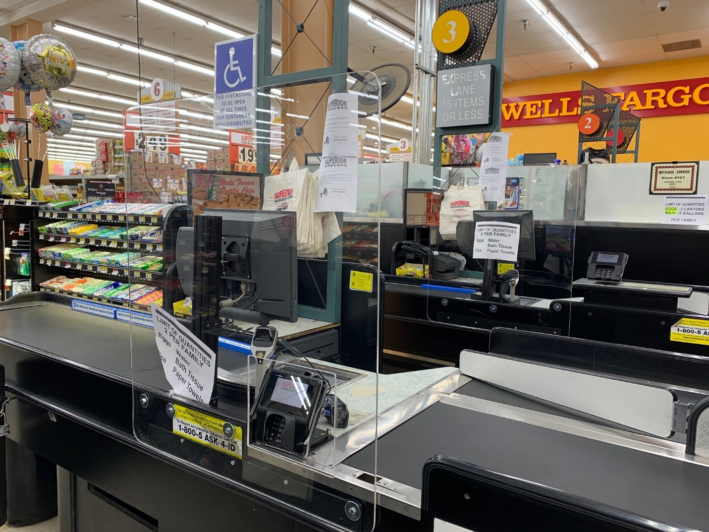 Superior Grocers Installing Plexiglass Guards at All Check-Stands