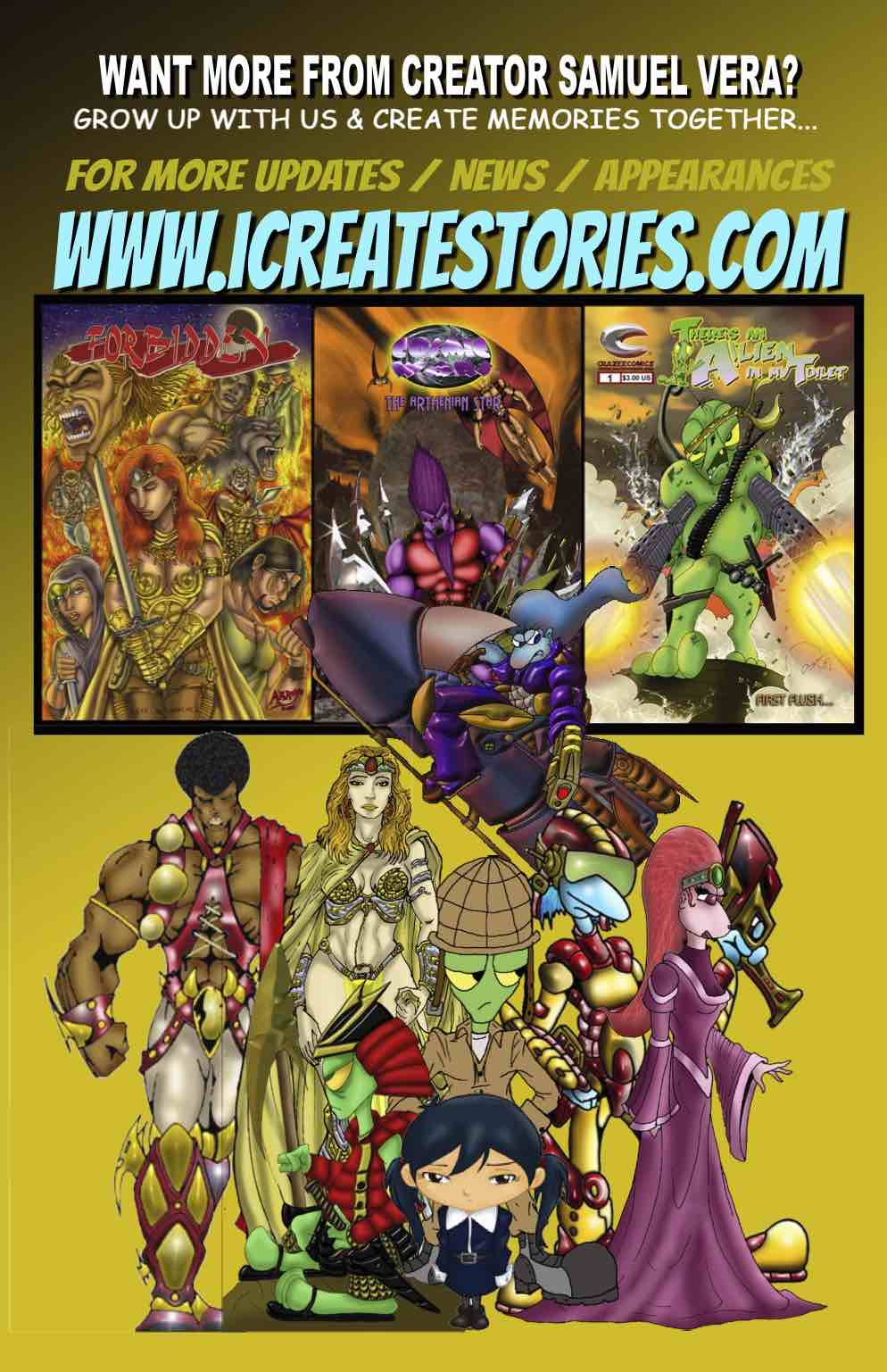 I Create Stories Debuts Comics and Kids eBooks Works by Samuel Vera on Amazon & B&N