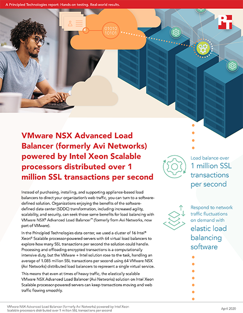 Principled Technologies Finds That VMware NSX Advanced Load Balancers Can Distribute Over 1 Million SSL Transactions Per Second