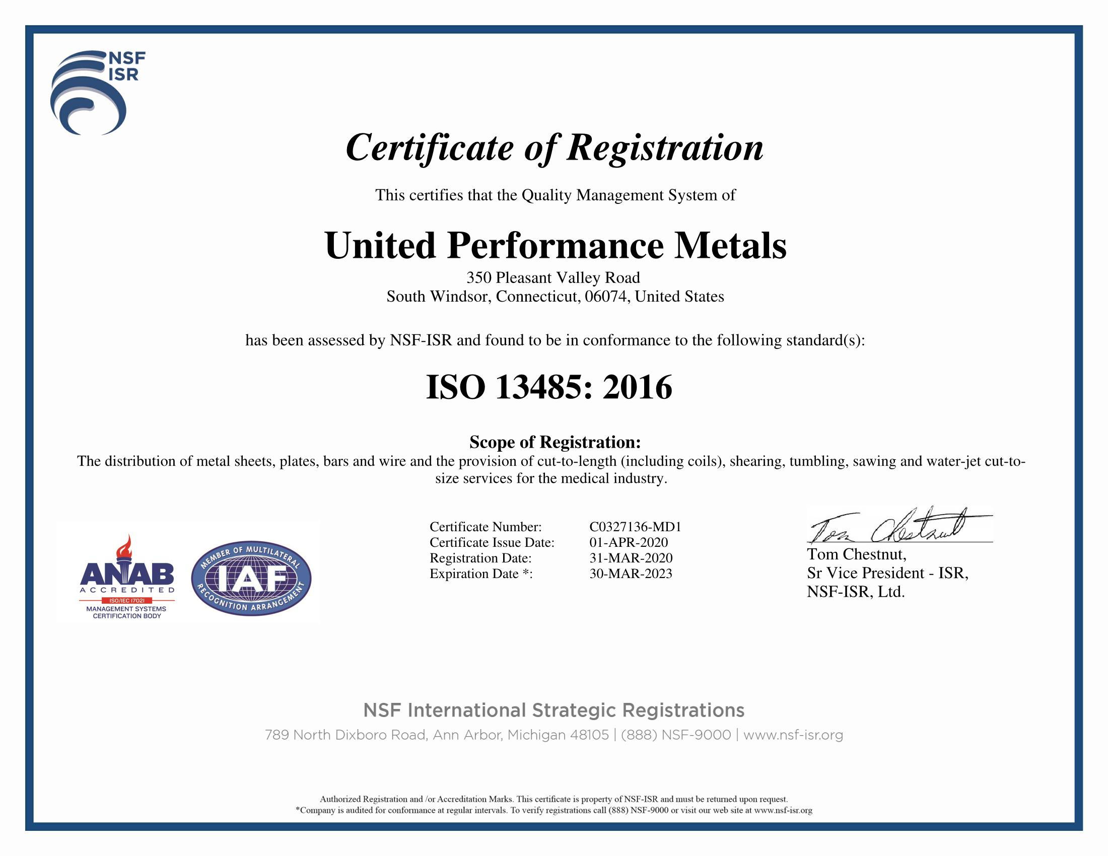 United Performance Metals Achieves ISO 13485:2016 Approval in Connecticut Service Center