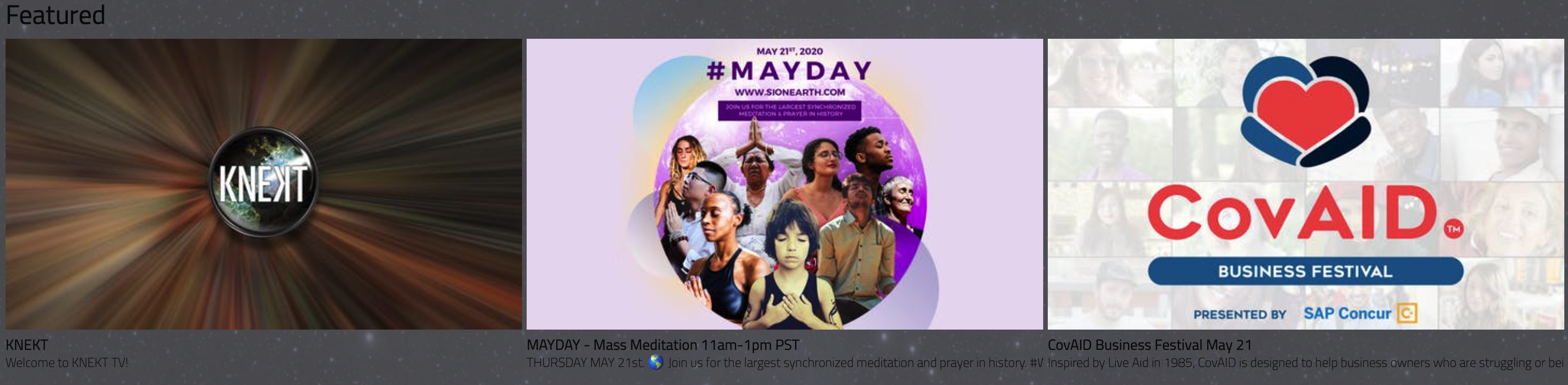 KNEKT TV Announces Its Biggest Day in Live-Streaming - Two Worldwide Events for Positivity on May 21
