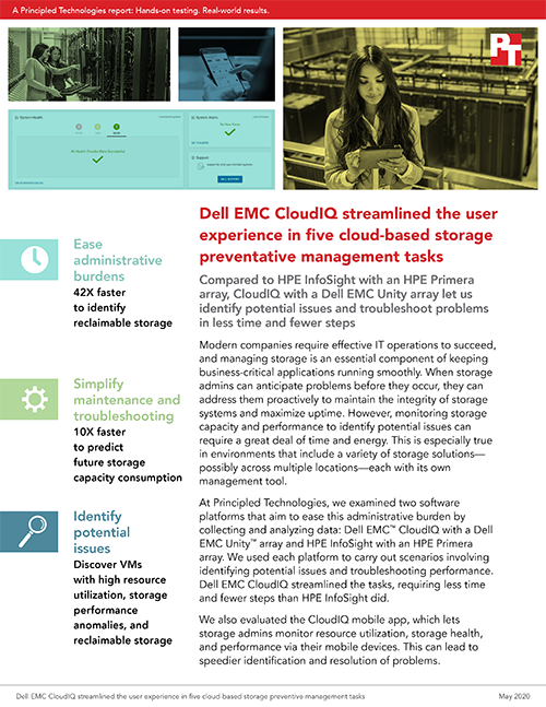Principled Technologies Found Dell EMC CloudIQ Streamlined the User Experience in Five Cloud-Based Storage Preventative Management Tasks