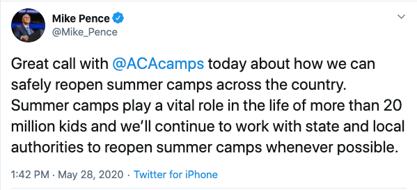 American Camp Association and Vice President Mike Pence Talk Summer Camp