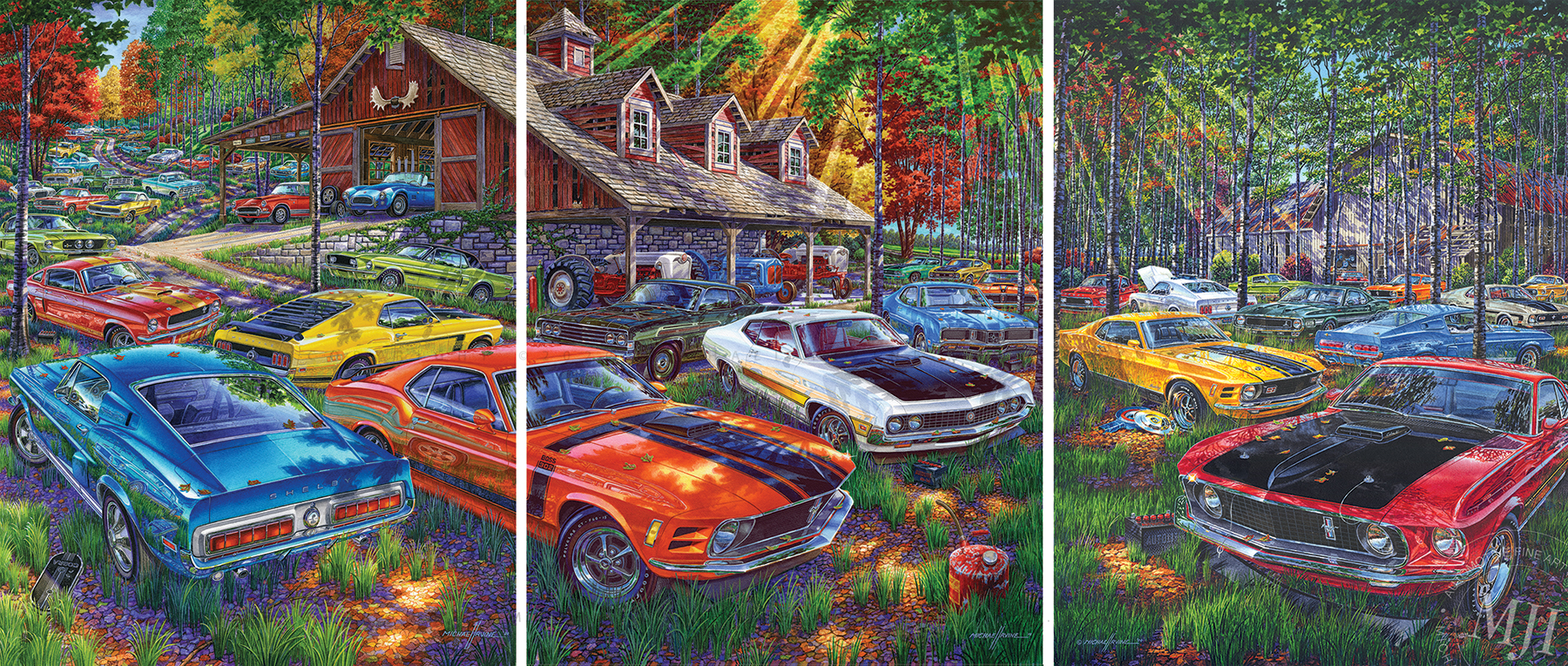 """New Release by """"Reflections of Horsepower"""" Artist Michael Irvine. Three Incredible Paintings. Fourteen Years in the Making. One Ultimate Barn-Find."""