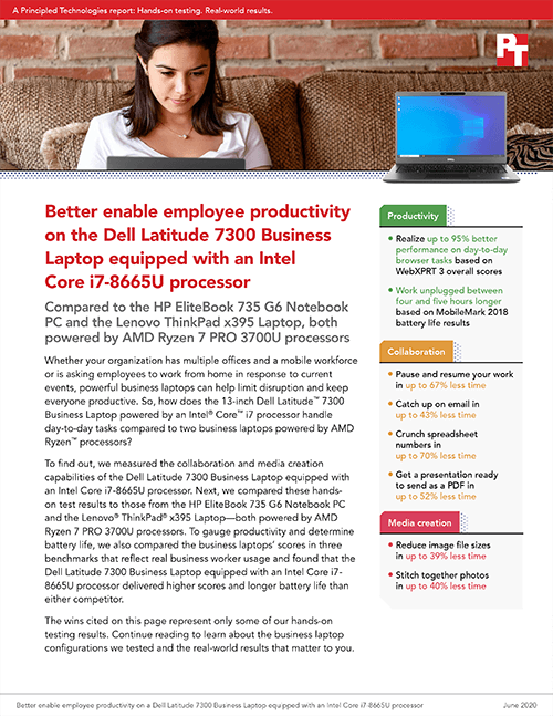 New PT Study Finds That a Dell Latitude 7300 Business Laptop Powered by Intel Beat Two Competitors on Several Benchmark and Application Performance Tests