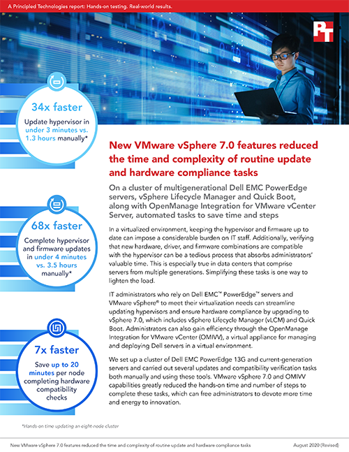 Principled Technologies Releases Study Comparing Using New VMware Vsphere 7.0 Features vs. A Manual Approach for Routine Updates and Hardware Compliance Tasks
