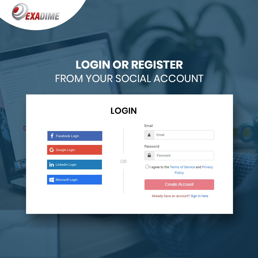 Online Address Book Software Exadime Integrates Social Media Sign Up