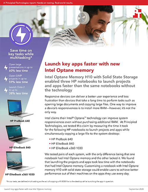 Intel Optane Memory H10 with Solid State Storage Provided Better Multitasking Performance for HP Laptops in Principled Technologies Study