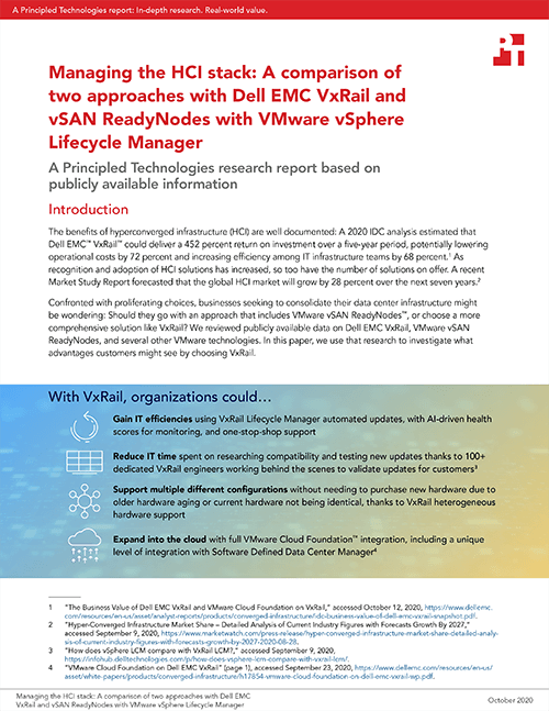 Principled Technologies Finds That Dell EMC VxRail Offers Companies Several Advantages Over vSAN ReadyNodes