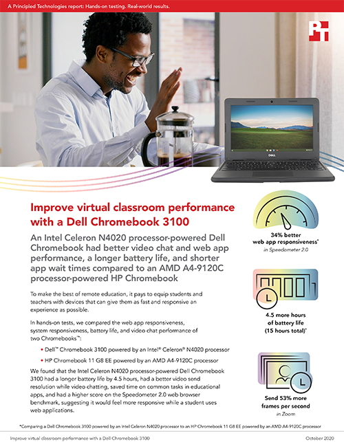 A Dell Chromebook 3100 Delivered Better Virtual Classroom Performance Than an HP Chromebook 11 G8 EE, Principled Technologies Hands-On Tests Find