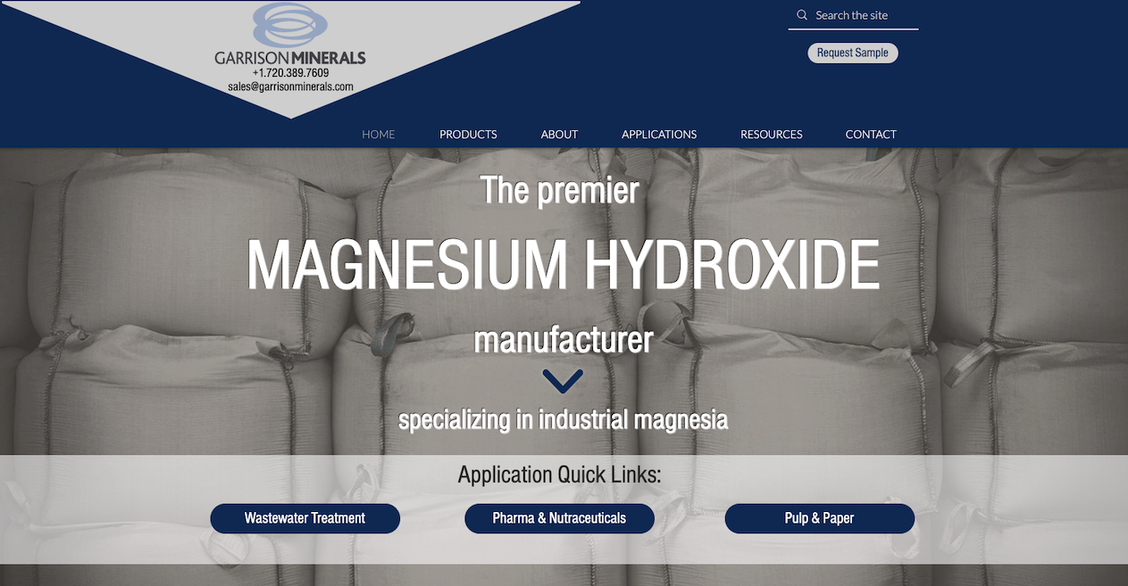 Garrison Minerals, Magnesium Hydroxide Manufacturer, Announces Newly Renovated Website