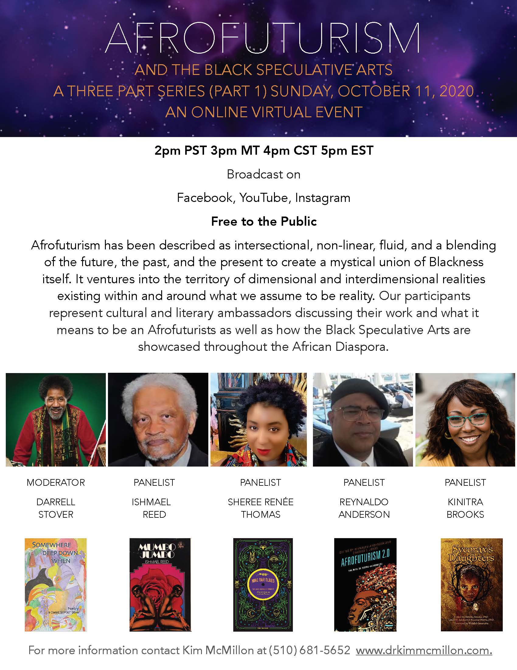 Afrofuturism and the Black Speculative Arts - a Three-Part Virtual Series, 2nd Sundays, 2 pm (PST)  October – December 2020