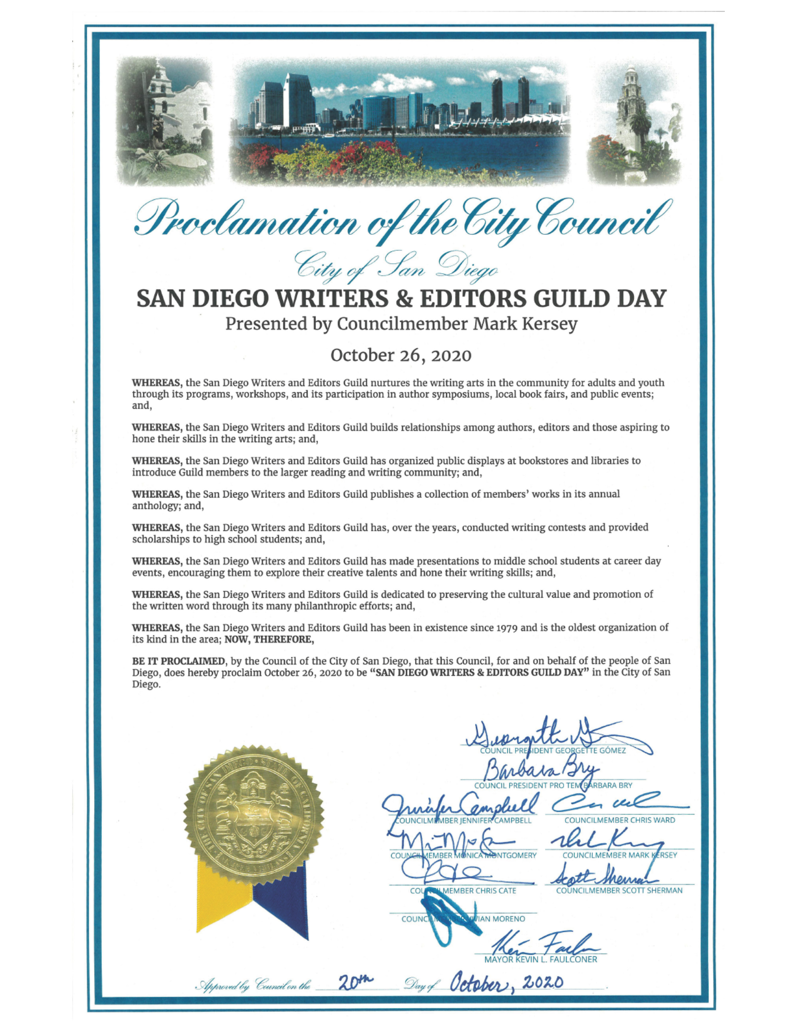 City Council Declares October 26 San Diego Writers and Editors Guild Day