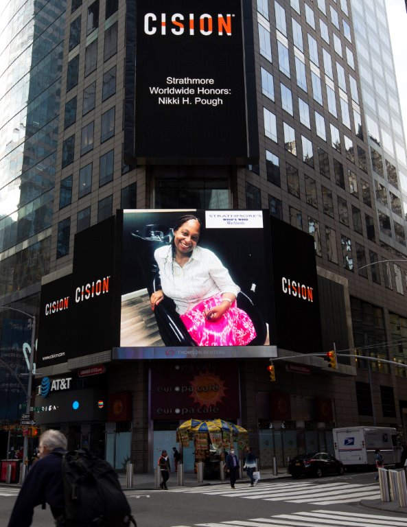 Nikki H. Pough Showcased on the Reuters Billboard in Times Square by Strathmore's Who's Who Worldwide