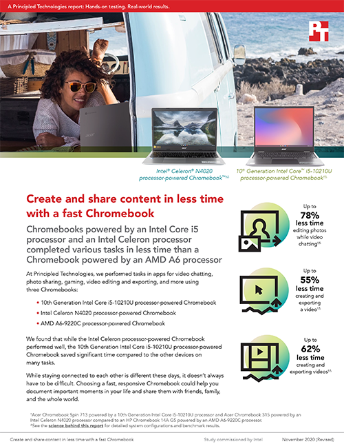 Principled Technologies Study on Chromebooks Finds Time Savings on Tasks in Creative, Gaming, and Photo Sharing Apps
