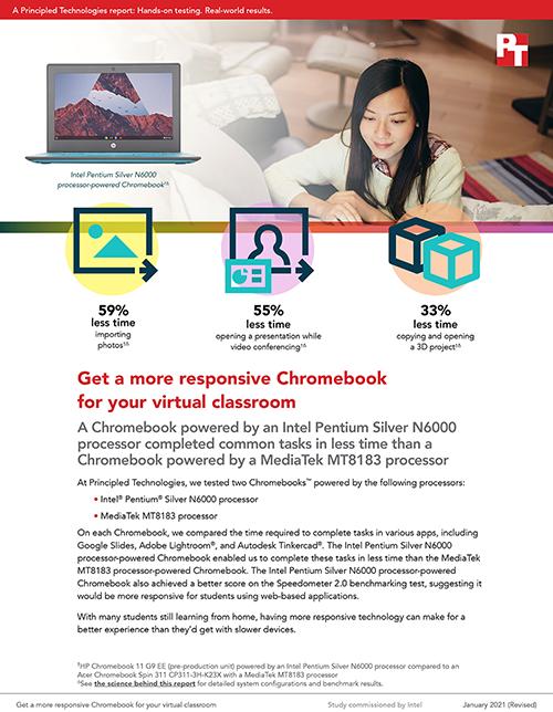 Principled Technologies Releases Chromebook Study Comparing Intel Pentium Silver N6000 Processor Powered Device Versus MediaTek MT8183 Processor-Powered Device