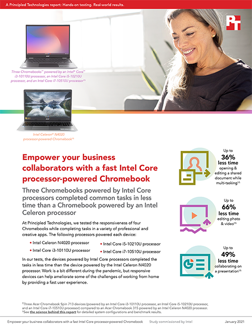 Principled Technologies Report Compares Multitasking Performance Among Chromebooks with Different Intel Core and Celeron Processors