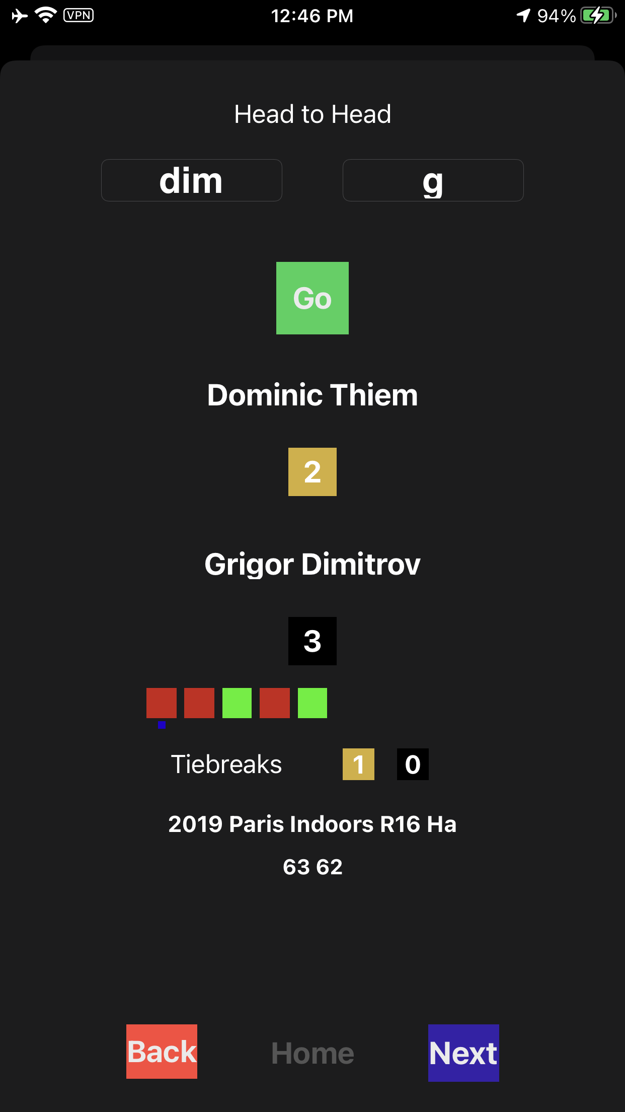 The tennisdata App Continues to Improve