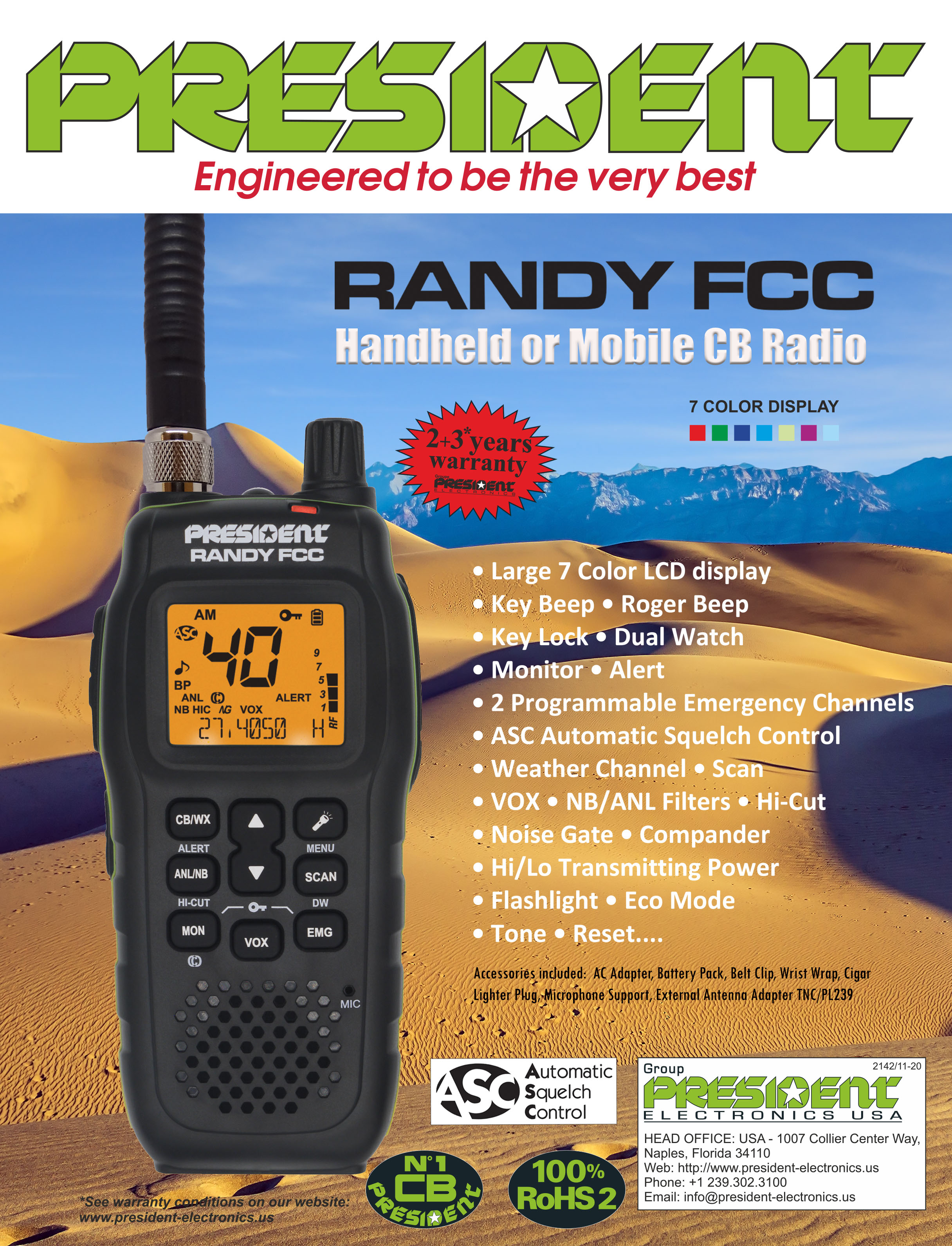 "President Electronics USA Introduces the ""RANDY FCC"" Handheld or Mobile CB Radio"