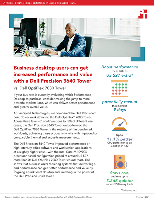 Principled Technologies Releases Study Comparing Performance, Value, Thermals, and Acoustics for the Dell Precision 3640 Tower vs. the Dell OptiPlex 7080 Tower