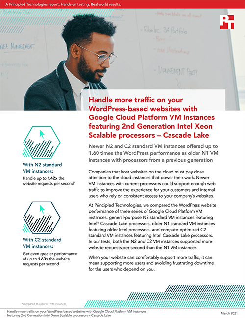 Newer Google Cloud Platform VM Instances Featuring Intel Cascade Lake CPUs Handled More Web Traffic Than Older VM Instances in Principled Technologies Study