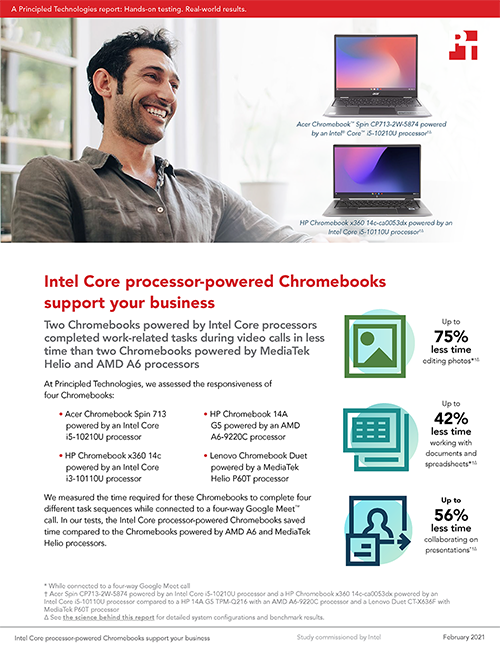 Chromebooks Powered by Intel Core i5 and Core i3 Processors Saved Time on Tasks in Various Apps, Principled Technologies Study Shows